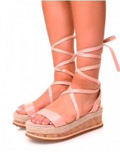 Sandales compensées en suédine rose à lacets
