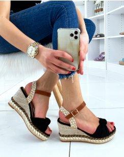 Sandales compensées noires à bride en forme de noeud