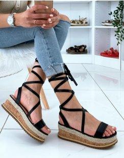 Sandales compensées noires à lacets