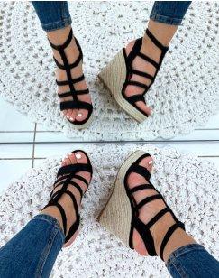 Sandales compensées noires raphia