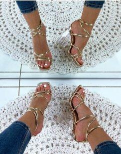 Sandales dorées à talon bloc transparent et brides sexy