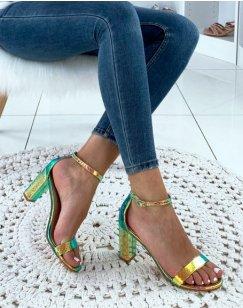 Sandales dorées holographiques effet python à talons carrés