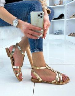 Sandales dorées plates à multiples brides tressés