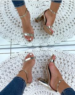 Sandales dorées vernies à talons carrés