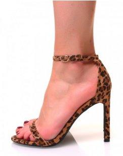 Sandales effet léopard en suédine à talons aiguilles
