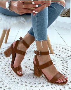 Sandales en similicuir camel à talons carrés et multiples brides