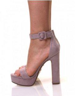Sandales en suédine à plateformes mauves