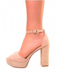 Sandales en suédine beiges à talons et plateformes en corde