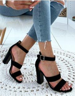 Sandales en suédine noires à talons et à multiples brides