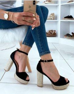 Sandales en suédine noires à talons et plateforme en corde