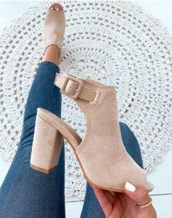 Sandales fermées à talons beiges en suédine