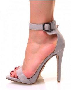 Sandales grises en suédine à talons aiguilles et à larges brides