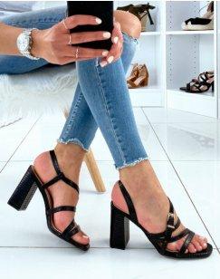 Sandales noires à brides effet croco