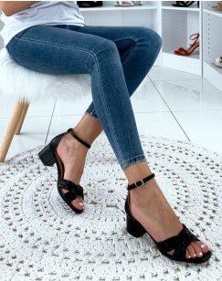 Sandales noires à brides nouées