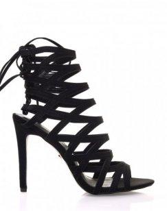 Sandales noires à lacets et lanières croisées