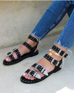 Sandales noires à multiples brides ajustables cloutées