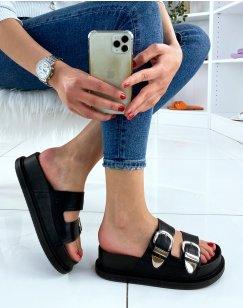 Sandales noires à semelle et lanières ajustables épaisses