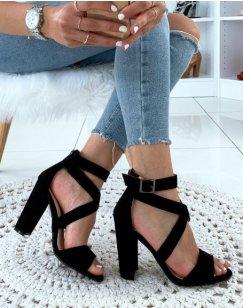 Sandales noires à talon carré en suédine