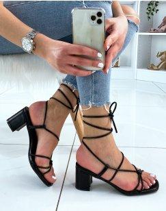 Sandales noires à talons et à lacets entrecroisés