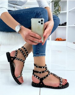 Sandales noires cloutées à tissu léopard