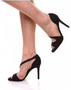 Sandales noires en suédine à bride