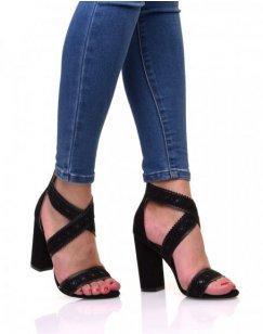 Sandales noires en suédine à talons épais