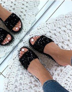 Sandales noires plates à sequins