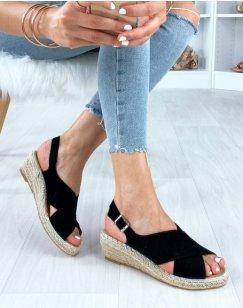 Sandales ouvertes en suédine noires à talons compensés