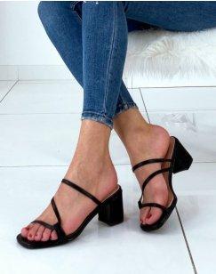 Sandales ouvertes noires à talons