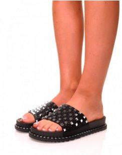 Sandales ouvertes noires cloutés