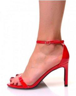 Sandales ouvertes rouges vernis à talons aiguilles