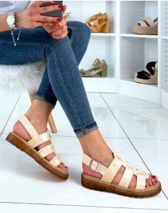 Sandales plates beige