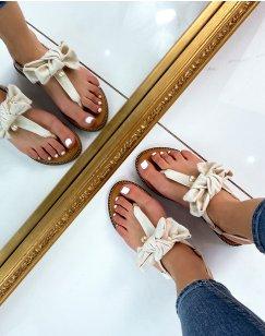 Sandales plates beiges à nœud et petite perle