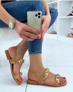 Sandales plates camel à détails dorées et fleuries