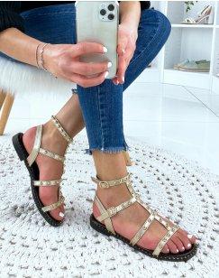 Sandales plates cloutées doré