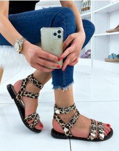 Sandales plates effet léopard noires à boucles