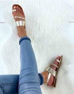 Sandales plates en cuir à bride tressée dorée