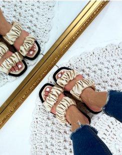 Sandales plates en simili cuir beige