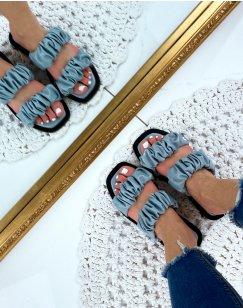Sandales plates en simili cuir bleu
