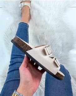 Sandales plates en suédine beiges à double lanières épaisses