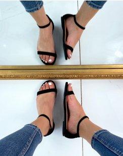 Sandales plates en suédine noire à fines lanières