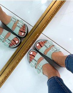 Sandales plates en suédine vert pastel à double lanières épaisses