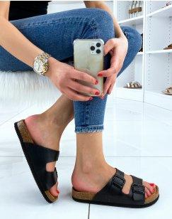 Sandales plates noires à doubles brides