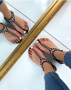 Sandales plates noires à entre-doigts perlés
