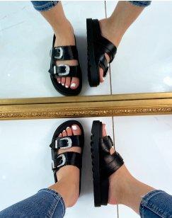 Sandales plates noires à lanières épaisses ajustables