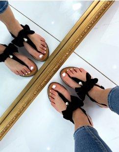 Sandales plates noires à nœud et petite perle