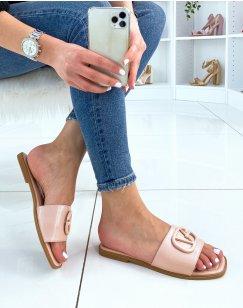Sandales plates rose à lanière épaisse