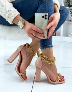 Sandales rose poudré à talon carré à chaînes dorées