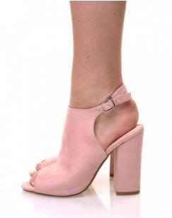 Sandales roses en suédine bout ouvert