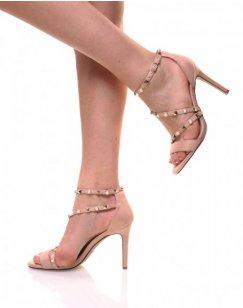Sandales roses en suédine brides cloutées